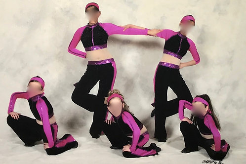 SMALL GROUP-Black, Purple & Pink Unitard with Mesh Panelling on Stomach