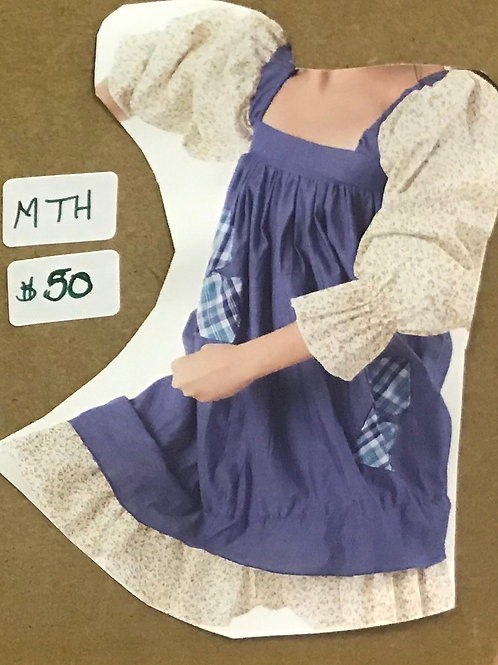 SMALL GROUP-Peasant Style Dress With Patched Overlay