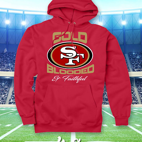 GOLD BLOODED & FAITHFUL - HOODIE (EMBROIDERED)