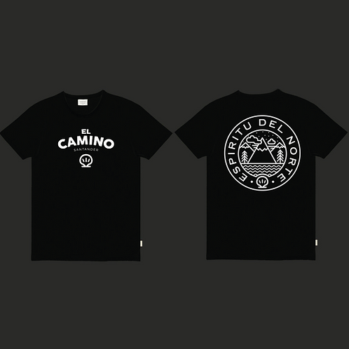 """Camiseta El Camino """"Espiritu del Norte"""" negra"""
