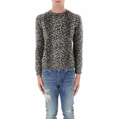 SAINT LAURENT Intarsia Leopard Knitted Sweater