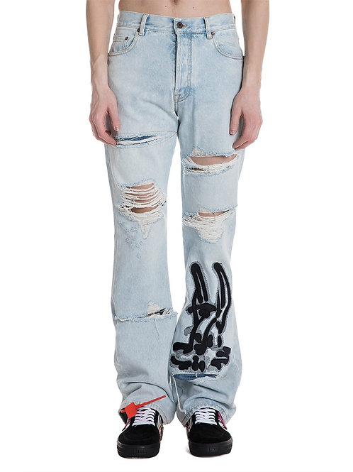 OFF-WHITE c/o Virgil Abloh Destroyed & Embroidered Jeans
