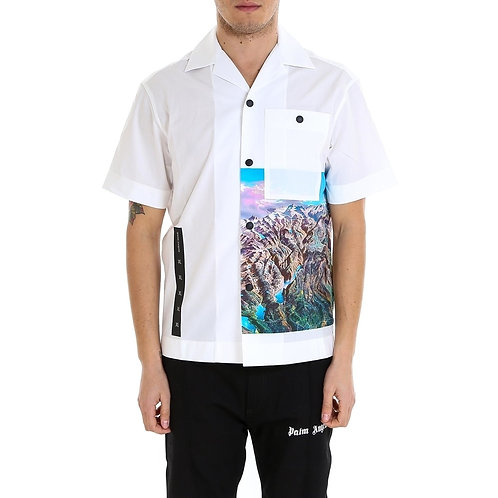 PALM ANGELS Short Sleeved Mountain Print Shirt