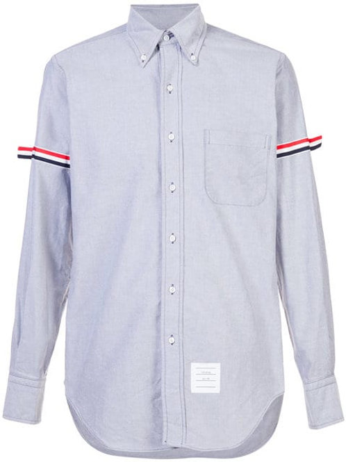 THOM BROWNE Long Sleeve Shirt With Grosgrain Armbands