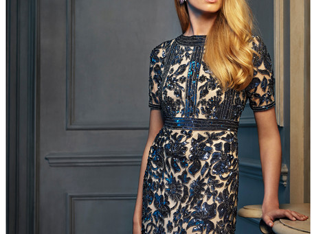 Fabulous navy and nude sequinned dress now in stock!
