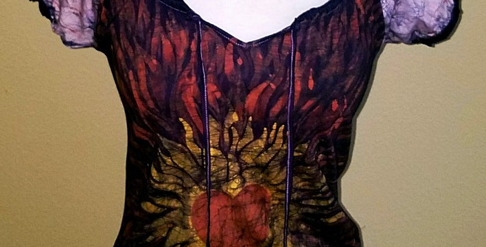 Fiery Heart Open-Neck Shirt