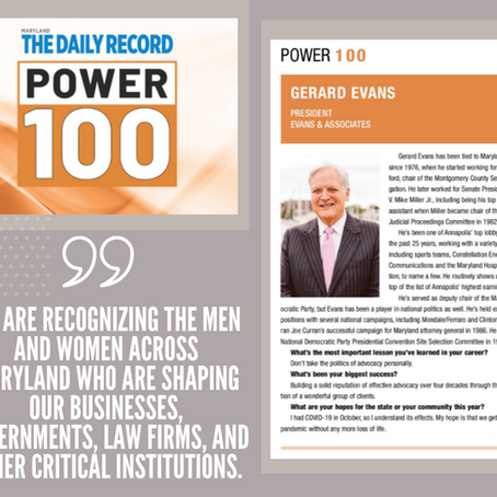 Press Release: Evans & Associates President, Gerard E. Evans, Named to the Daily Record Power 100