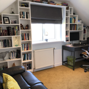 Spare room office and bookcase