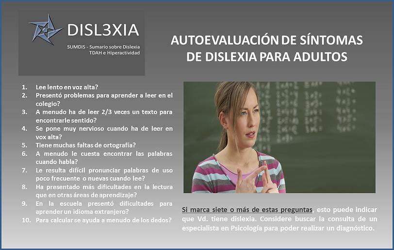 Auto test de Dislexia para adultos