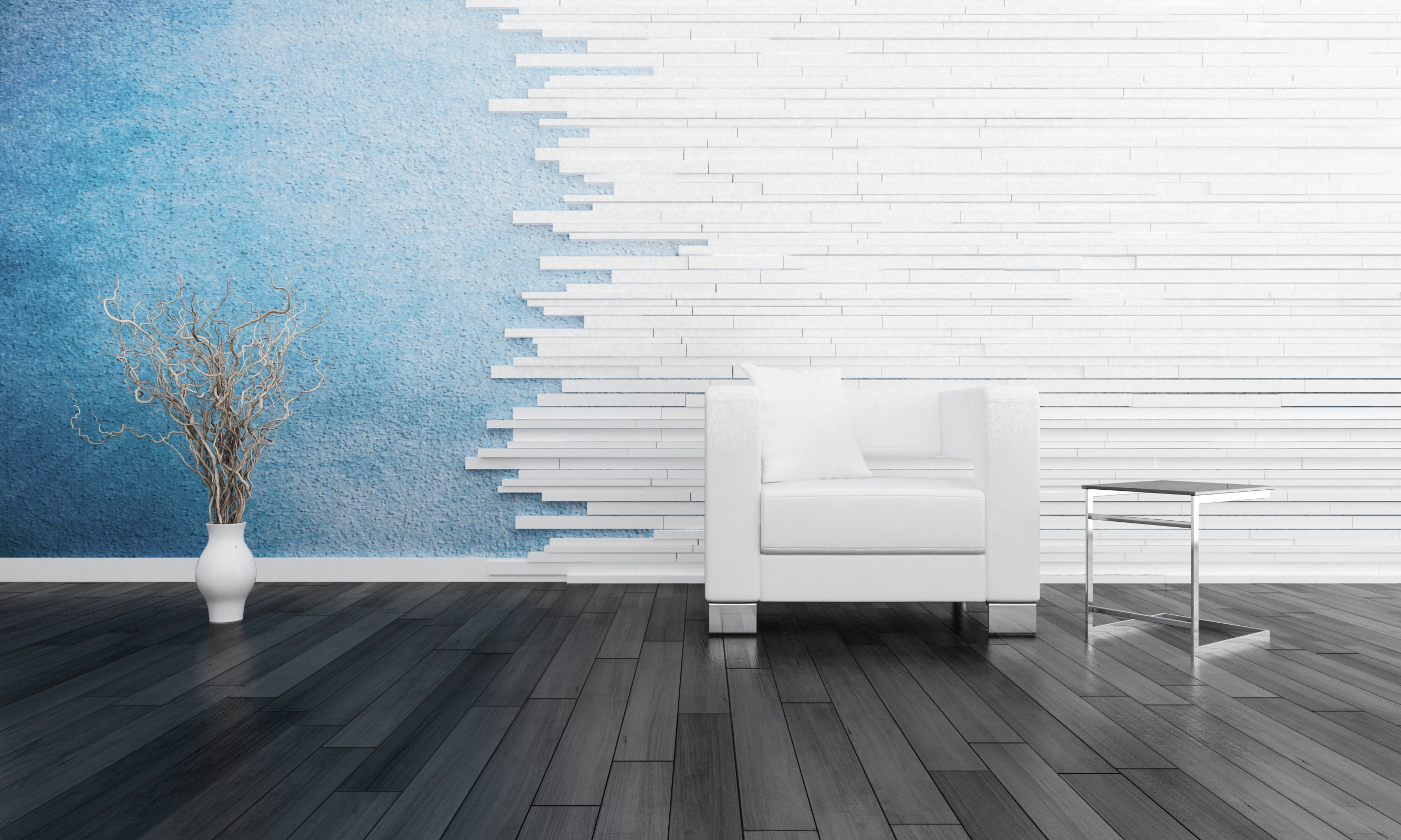 Modern white chair against blue wall