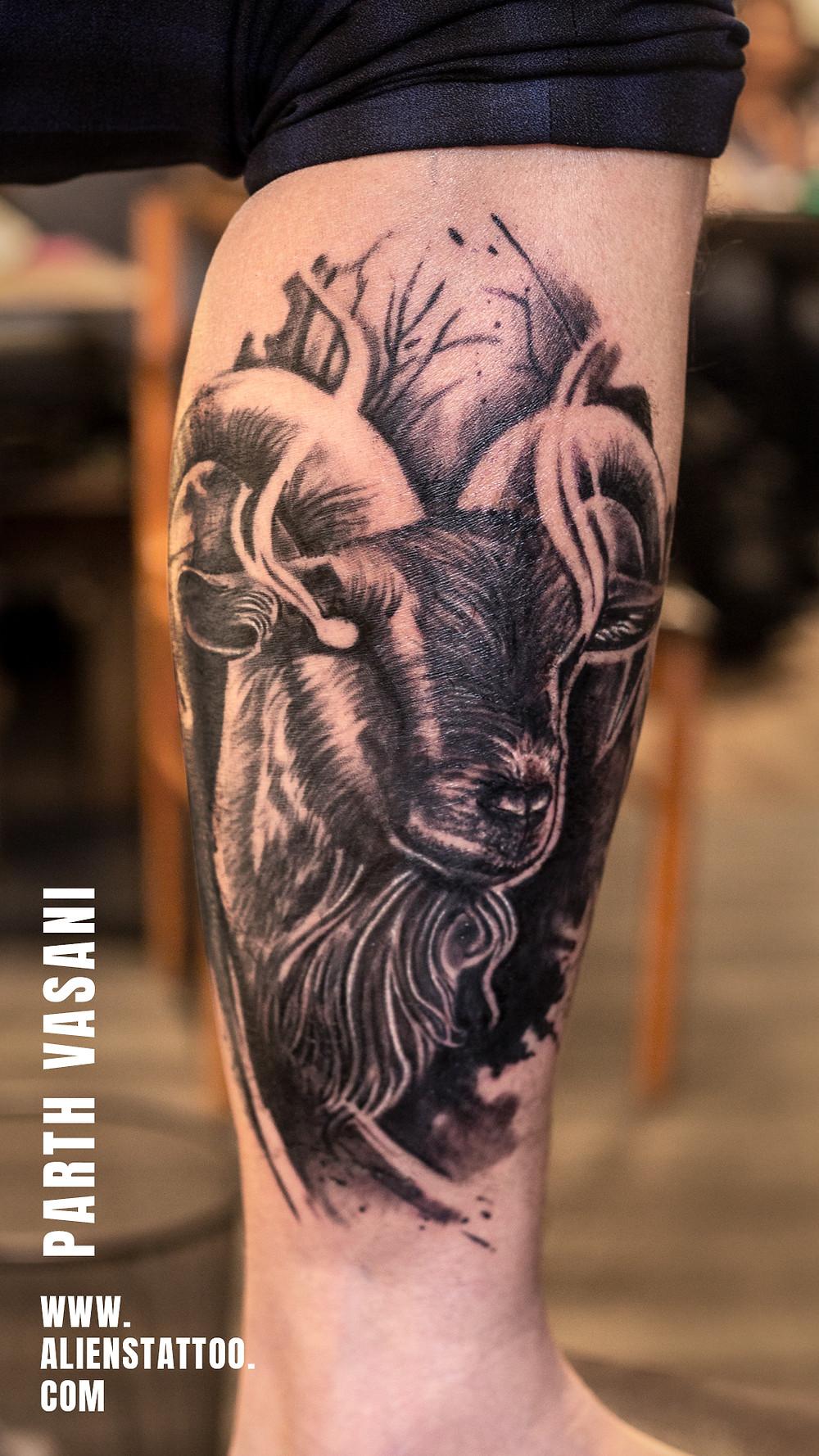 Aliens Tattoo - Capricorn Tattoo  - Zodiac Tattoos