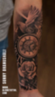 clock-dove-rose-tattoo-realistic-tattoo-