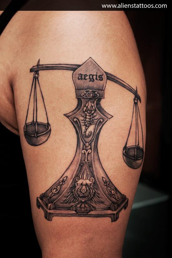 Aliens Tattoo - Libra Tattoo  - Zodiac Tattoos