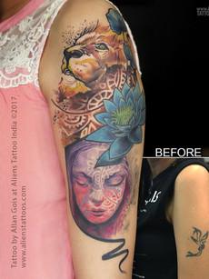 Lion-colour-tattoo-coverup-aliens-tattoo