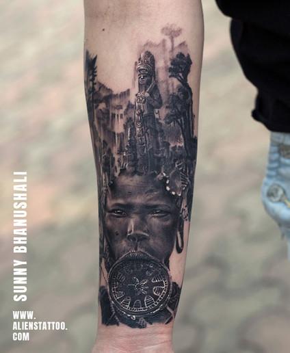 Aliens Tattoo - Realism Tattoo - African Tribal Tattoo