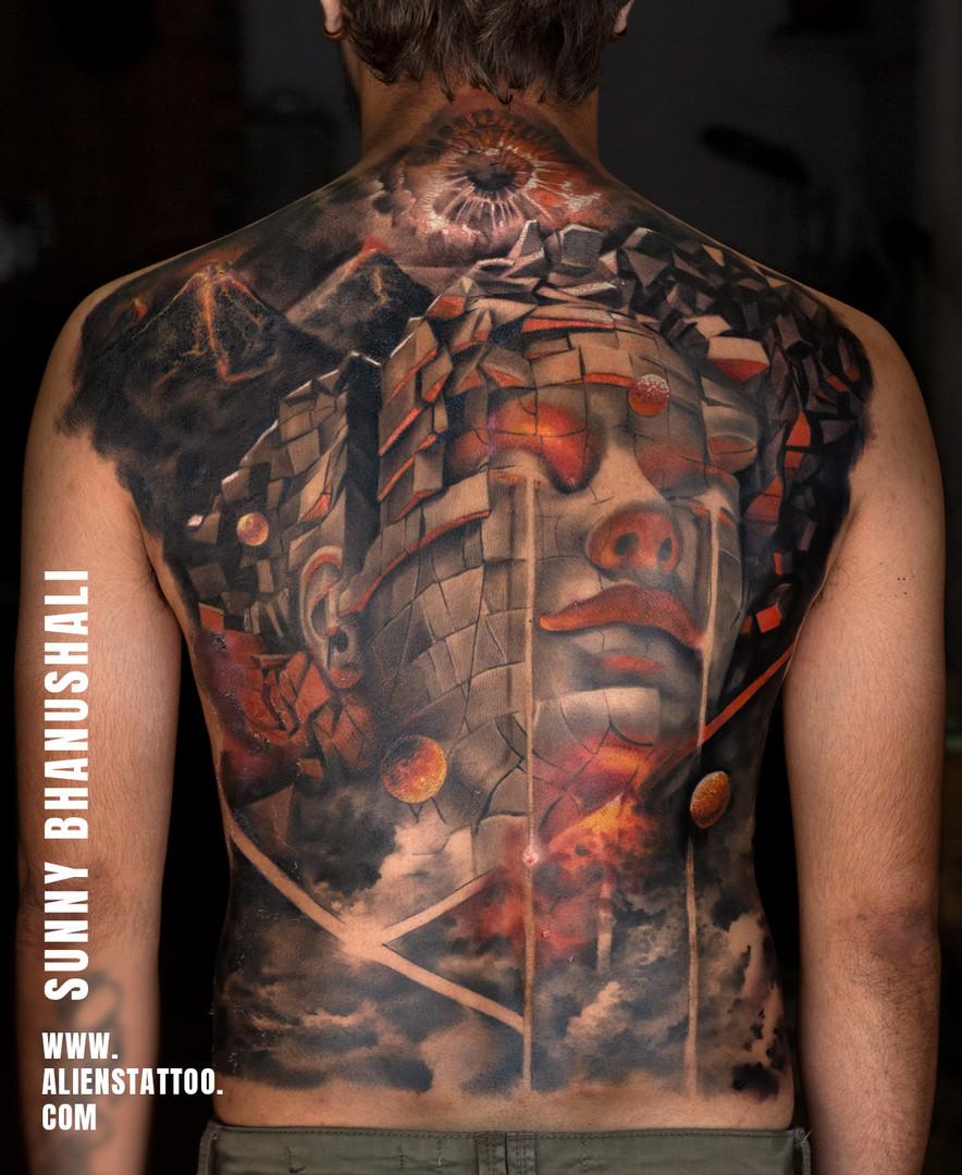 Back Piece Tattoo Aliens Tattoo India_