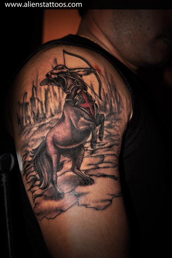 Aliens Tattoo - Sagittarius Tattoo  - Zodiac Tattoos