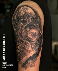 Aliens Tattoo - Realism Tattoo - Wolf Tattoo