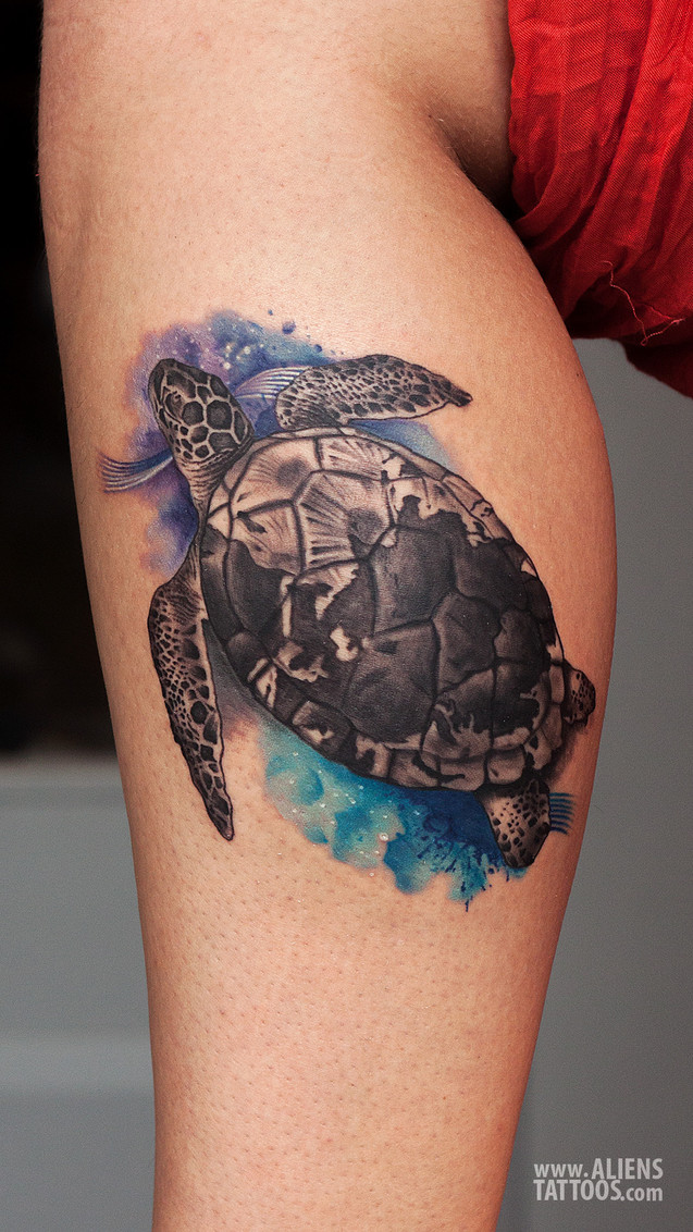 Turtle Tattoo Watercolor Style