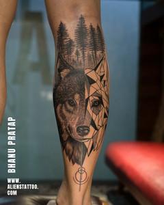 Aliens Tattoo - Realism Tattoo - Geometric Tattoo- Wolf Tattoo