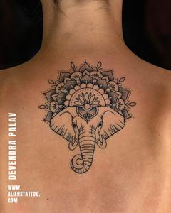 Aliens Tattoo - Mandala Tattoo - Elephant Tattoo - Back Tattoo