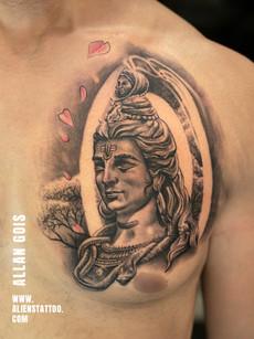 Shiva Tattoo On Chest