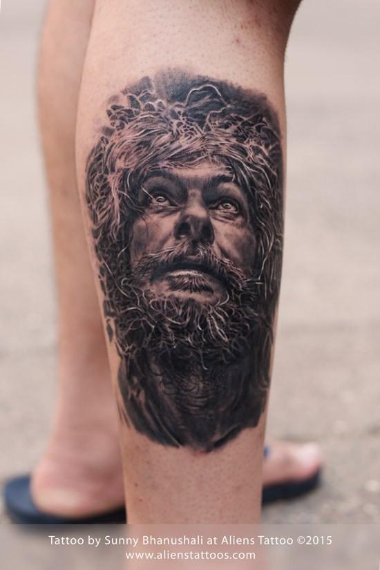 Photo-realistic Old Man Tattoo