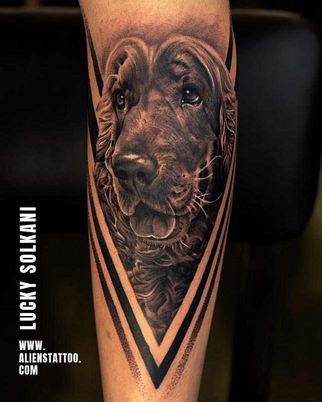 Dog Memorial Tattoo - Black & Grey Realism