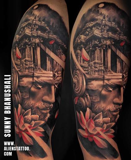 Aliens Tattoo - Realism Tattoo - Shiva Tattoo - Double Exposure Tattoo