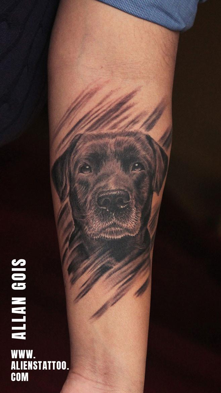 Black Labrador Portrait Tattoo