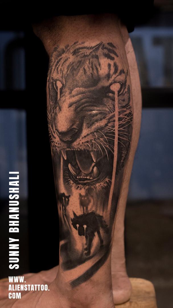 Tiger Tattoo Aliens Tattoo India