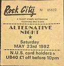 Trent Polytechnic unofficial after show nightclub ticket, Nottingham, 23 May 1992