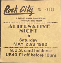 Trent Polytechnic Afterparty ticket, Nottingham, 23 May 1992