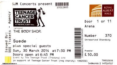 Royal Albert Hall, Teenage Cancer Trust Dog Man Star 20th Anniversary gig, 30 March 2014