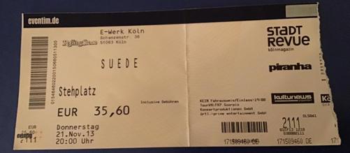 E-Werk Ticket, Cologne, Germany, 21 November 2013