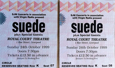 Suede tickets Liverpool, 24 October 1999