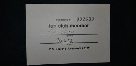 Original SIS Membership Card 1996 Front