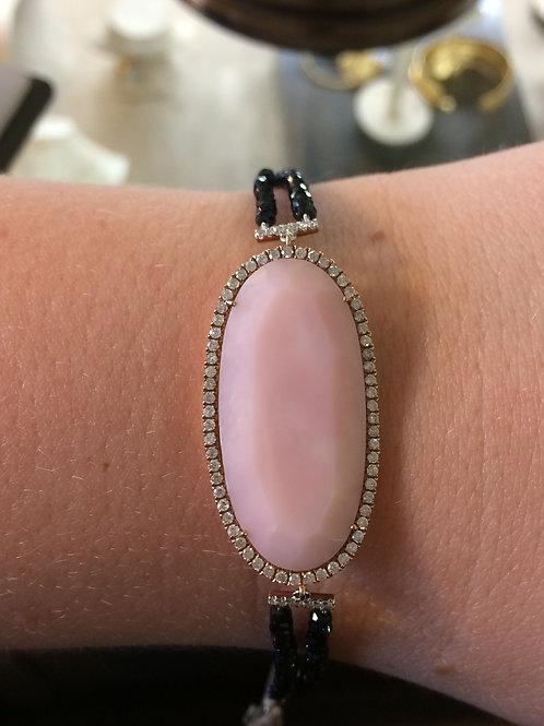 14KR pink opal and diamond bracelet