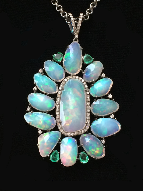 Opal emerald and diamond necklace