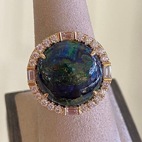 Azurite malachite and diamond ring