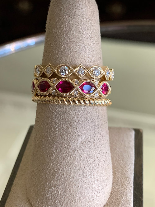 14Kt gold ruby/diamond stacked rings