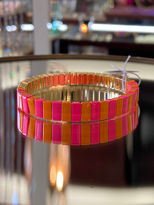 Tile Bracelet- Duo Pink