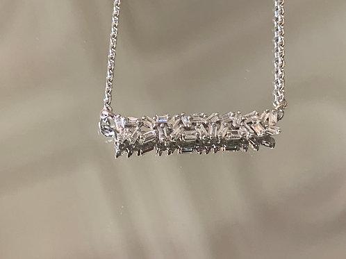 14KW baguette bar necklace