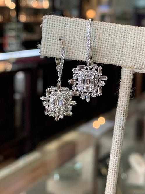 14KW art deco diamond earrings