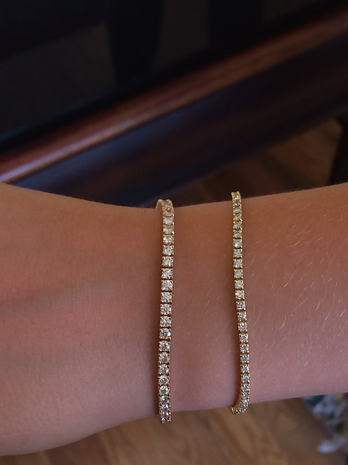 Diamond friendship style pull chain tennis bracelet