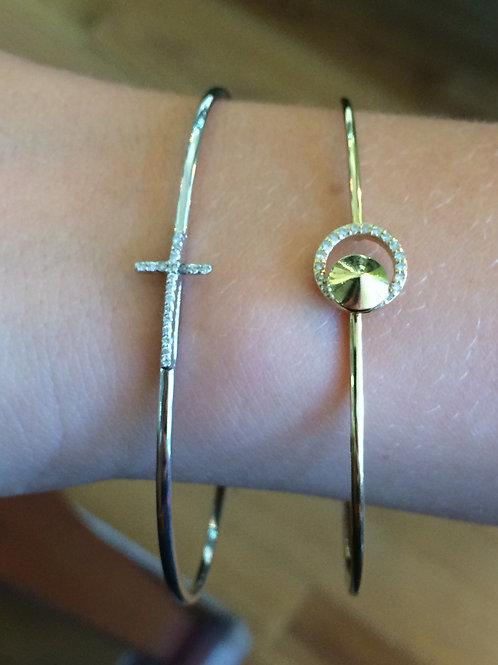 14KW diamond cross bangle and 14Kt diamond round bracelet