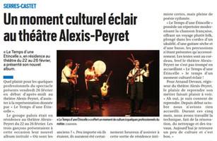 Un moment culturel éclair au théâtre Alexis-Peyret