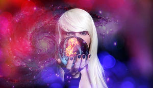 Psychic with Blond hair and Crystal Ball
