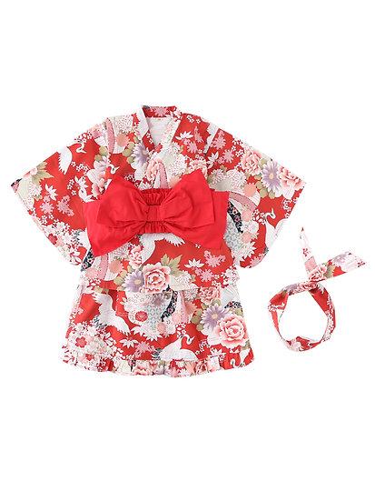 日系女童純棉和服仙鶴 BJ15901