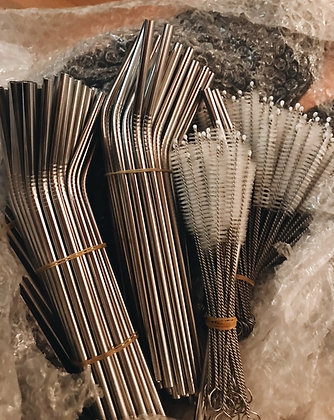 Reusable Stainless Steel Straw & Cleaner Set